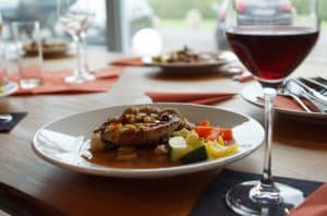 wine with dinner meat