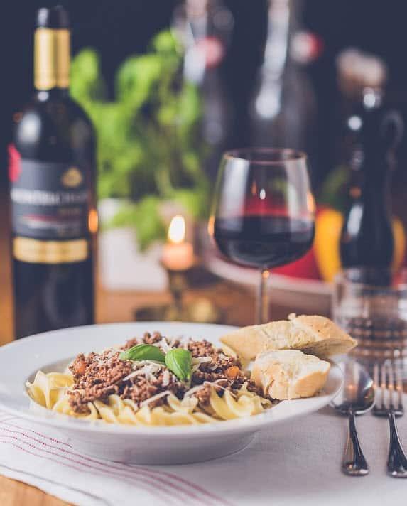 wine with pasta