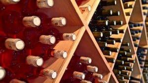 laying down wine bottles